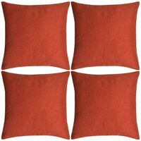 vidaXL Set 4 Federe per Cuscini in Simil-Lino Terracotta 80x80 cm