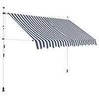 vidaXL Tenda da Sole Retrattile Manuale 300 cm a Strisce Blu e Bianche