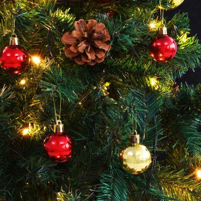 vidaXL Albero di Natale Artificiale Decorato Palline LED 150 cm Verde, Verde