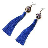 Orecchini - stile cinese con palla di legno / nappina blu