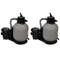 vidaXL Pompa con Filtro a Sabbia 2 pz 600 W 17000 l/h
