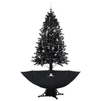 vidaXL Albero di Natale con Nevicata e Base ad Ombrello Nero 190cm PVC