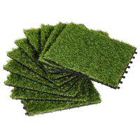Outsunny Prato Sintetico per Giardino Set di 10pz 30x30cm Verde Chiaro