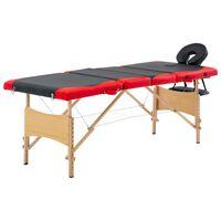 vidaXL Lettino da Massaggio Pieghevole a 4 Sezioni Legno Nero e Rosso
