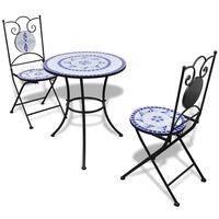 vidaXL Set da Bistrot 3 pz in Piastrelle di Ceramica Blu e Bianco