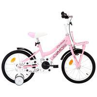 vidaXL Bici per Bambini con Trasportino Frontale 16'' Bianco e Rosa