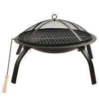 vidaXL Braciere e Barbecue 2 in 1 con Attizzatoio 56x56x49 cm Acciaio