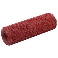 vidaXL Recinzione in Rete per Pollaio in Acciaio e PVC 25x0,5 m Rossa