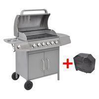 vidaXL Griglia Barbecue a Gas 6+1 Fornelli Argento