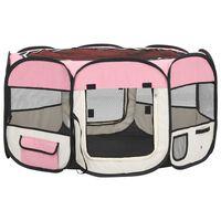 vidaXL Box per Cani Pieghevole con Borsa Trasporto Rosa 125x125x61 cm