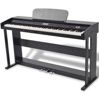 vidaXL Pianoforte Digitale con 88 Tasti e Pedali in Melamina Nera