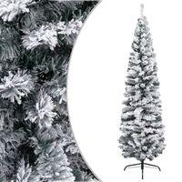 vidaXL Albero di Natale Artificiale Sottile con Neve Verde 210 cm PVC