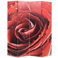 vidaXL Paravento Pieghevole 160x170 cm Stampa Rosa Rossa