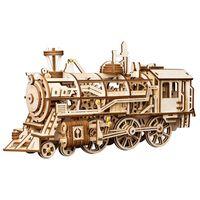 Robotime Treno Meccanico in Legno Locomotive