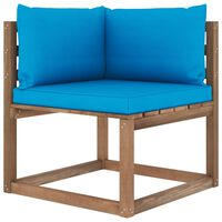 vidaXL Divano Angolare da Giardino su Pallet con Cuscini Blu Chiaro