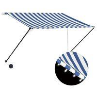 vidaXL Tenda da Sole Retrattile con LED 250x150 cm Blu e Bianco