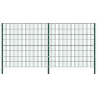 vidaXL Pannello di Recinzione con Pali in Ferro 3,4x1,6 m Verde