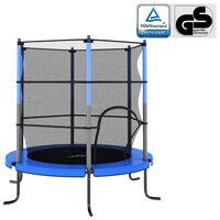 vidaXL Trampolino con Rete di Sicurezza Rotondo 140x160 cm Blu