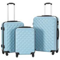 vidaXL Set Trolley a Custodia Rigida 3 pz Blu in ABS