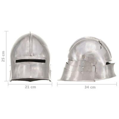 vidaXL Elmo da Cavaliere Medievale Antico LARP in Acciaio Argento