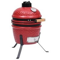 vidaXL Barbecue Affumicatore 2 in 1 Kamado in Ceramica 56 cm Rosso