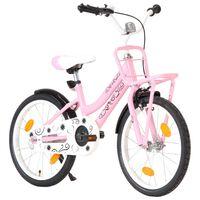 vidaXL Bici per Bambini con Trasportino Frontale 18'' Rosa e Nera