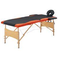 vidaXL Lettino da Massaggio Pieghevole a 2 Sezioni Legno Nero Arancio