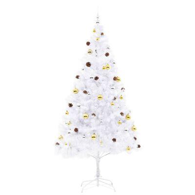 vidaXL Albero di Natale Artificiale Decorato Palline LED 210 cm Bianco