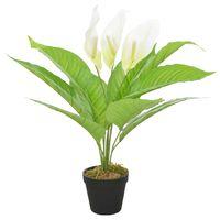 vidaXL Anthurium Artificiale con Vaso Bianco 55 cm