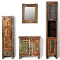 Set bagno in legno anticato con specchio e 2 armadi laterali