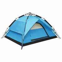vidaXL Tenda da Campeggio Pop-Up 2-3 Persone 240x210x140 cm Blu