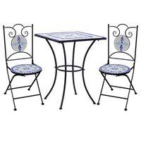vidaXL Set Bistrò 3 pz con Mosaico in Ceramica Blu e Bianco