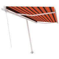 vidaXL Tenda Retrattile Manuale con Palo 450x300 cm Arancio Marrone