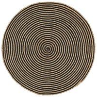 vidaXL Tappeto Lavorato a Mano in Juta Design a Spirale Nero 120 cm