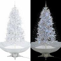 vidaXL Albero di Natale con Neve e Base a Ombrellone Bianco 190 cm