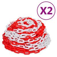 vidaXL Catene di Sicurezza Traffico 2 pz Rosso e Bianco Plastica 30 m
