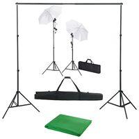 vidaXL Kit Studio Fotografico con Fondali Luci e Ombrelli