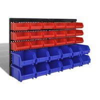 vidaXL Contenitore Plastica per Garage da Parete Set 30 pz Blu e Rosso