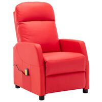 vidaXL Poltrona Massaggiante Reclinabile Rossa in Similpelle