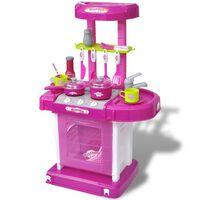 vidaXL Cucina Giocattolo per Bambini con Effetti Luce/Suoni Rosa