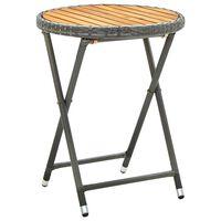 vidaXL Tavolino da Tè Grigio 60 cm in Polyrattan e Massello di Acacia