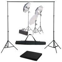 vidaXL Kit Studio Fotografico con Set Luci e Fondale