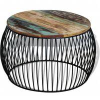 vidaXL Tavolino da Salotto Rotondo Legno Massello di Recupero 68x43 cm