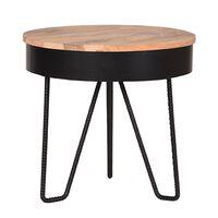 LABEL51 Tavolino Angolare Saran 44x44x43 cm Legno e Nero