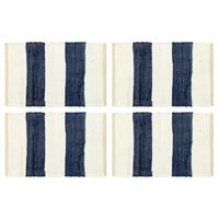 vidaXL Tovagliette 4 pz Chindi a Strisce Blu e Bianco 30x45 cm Cotone