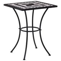 vidaXL Tavolino da Bistrot con Mosaico Nero e Bianco 60 cm in Ceramica