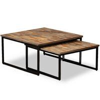vidaXL Set Tavolini a Incastro 2 pz in Teak Massello di Recupero