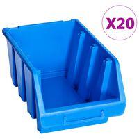 vidaXL Contenitori di Stoccaggio Impilabili 20 pz Blu in Plastica