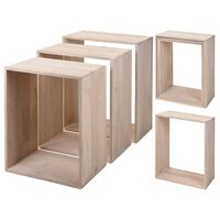 Home&Styling Set di Tavolini da Salotto 3 pz Legno di Mango Sbiancato