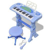 vidaXL Gioco Bambini Tastiera con Sgabello/Microfono 37 Tasti Blu